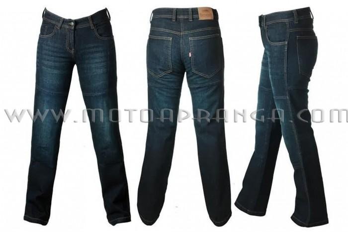 Ladies dark blue kevlar jeans with protectors